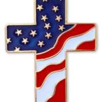 American Flag Cross Pin Magnetic Back