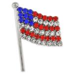 Rhinestone American Flag Brooch Pin
