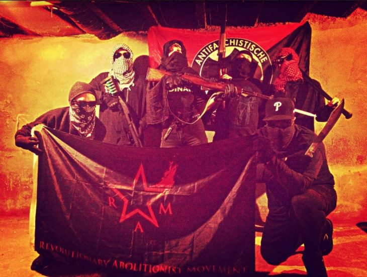 Philadelphia chapter of the Revolutionary Abolitionist Movement (RAM) with Antifa banner.